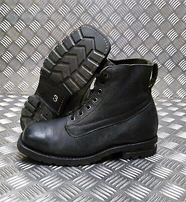 Genuine Vintage Leather 1980's Swedish Military Black Square Toe Boots