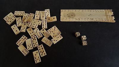 Napoleonic POW cribbage board & dominoes- made out of bone