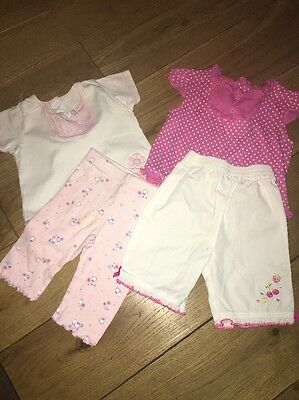 2 X Baby Girls Summer Outfits - Leggings/trousers & Top Age 3-6 Months