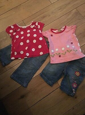 2 X Baby Girls Outfits - Jeans/shorts & Tops Age 6-9 Months