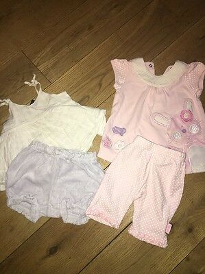 2 X Baby Girls Summer Outfits - Leggings/shorts & Top Age 3-6 Months