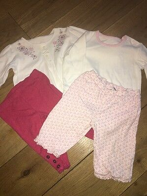 2 X Baby Girls Pink & White Outfits - Leggings & Top Age 3-6 Months
