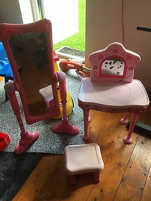 elc dressing up table girls with mirror and stool