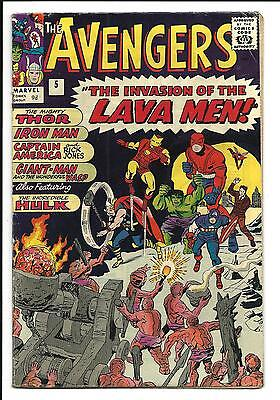 AVENGERS # 5 (HULK APP. INVASION of the LAVA MEN, MAY 1964), FN