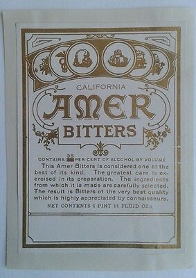 Label for California Amer Bitters 35 per cent alcohol, gilt printing