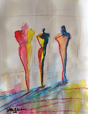 """Claire Mcelveen Original Watercolor And Oil Pastel Painting On Paper """"the Trio"""""""