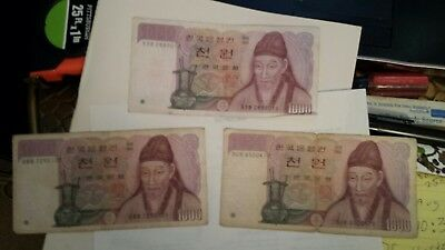 Korea South  --  Three 1000 Won Currency Notes