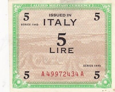 1943 Italy 5 Lire Allied Military Currency Note, Pick 12a
