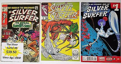Silver Surfer Lot Of 3 Silver Age # 1,8,9 Marvel Comics Thanos Ego