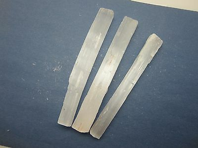 """SELENITE WANDS Lot of 3 Rough 6"""" in. Morocco 246g"""