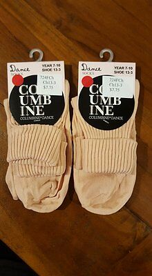 Columbine Dance Child 2 pairs Flesh Dance socks Jazz Ballet sz13-3 BNWT (14)