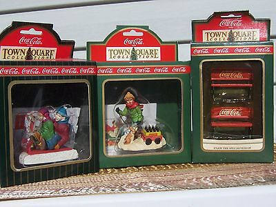 Coca-Cola Town Square Accessories, Lot Of 3, Tobogan Sledders, Benches