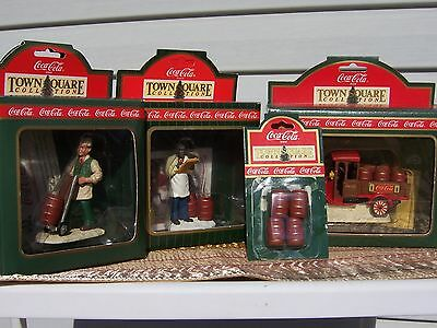 Coca-Cola Town Square Accessories, Lot Of 4, Model T Truck With Barrels