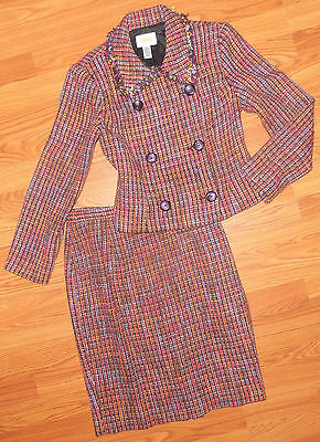 TALBOTS Petites Size 8 Multicolor 2pc Lined Skirt Suit in Excellent Condition!