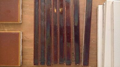 "Vintage tiles - 9 dark brown half inch thick pencil tiles - size 0.5""x 6"""