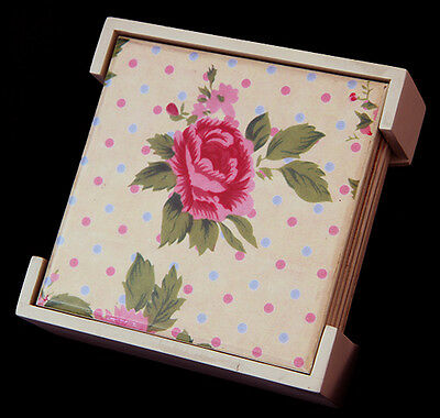 Set of 6 Wooden Floral Rose Pastel Square Table Drink Coasters With Holder