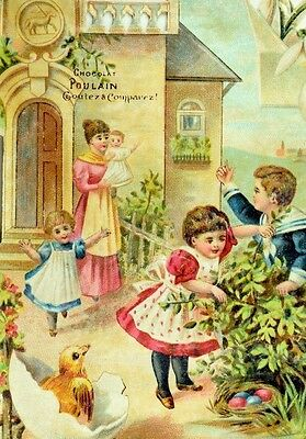 1880's Easter Chick Colored Eggs Adorable Kids Chocolat Poulain Die Cut Card *R