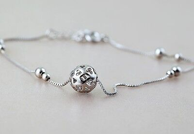 925 Solid Sterling Silver Anklet Little Ball