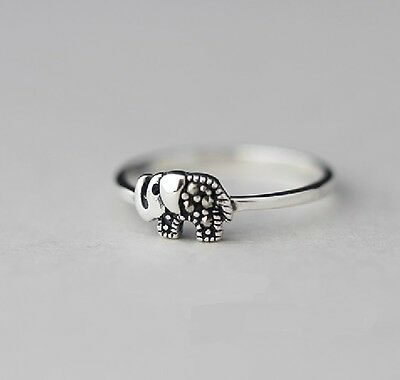 925 Solid Sterling Silver Ring Marcasite Elephant Size 8