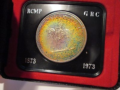 1973 RCMP Canadian Silver Dollar Colorful Unique Toned Original Holder toning