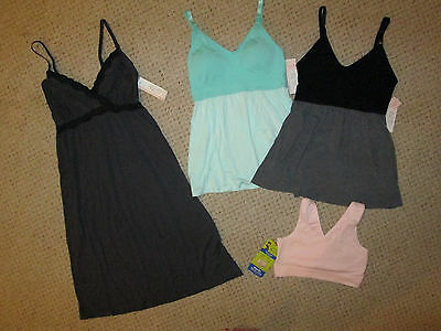 NEW LOT 4 Gilligan & O'Malley Nursing gown sleep tops bra size S Small *NWT*