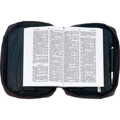 Black Designer Leather  BIBLE COVER Protective Book Tote Carry Case Cross Zippe