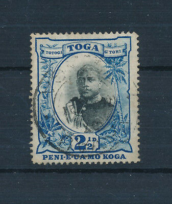 """Tonga 1897 (King George 11) 2½d  black & blue """"no fraction in bar in ½"""" SG43a FU"""