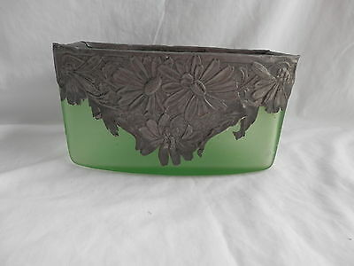 Vintage Large Green Bowl With Heavy Silver or Pewter Overlay
