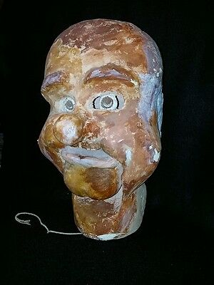 Vintage Display Pulp Paper Mache Mardi Gras Carnival Festival Head Working Mouth
