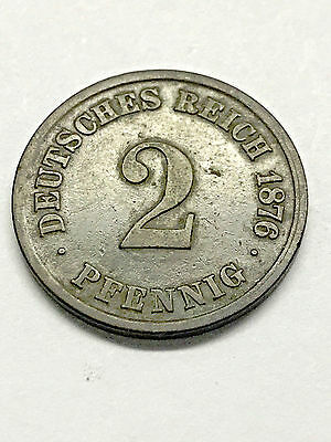 1876-A German Empire 2 Pfennig Fine #5283