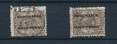 """Tonga 1897(King George 11) ½d on 1s brown pair one stamp variety """" SURCHARCE"""" FU"""