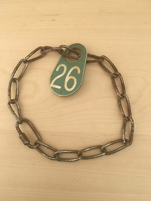 Vintage Cow Farm Animal Chain Collar Plastic Number Tag Green 26 Necklace