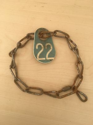 Vintage Cow Farm Animal Chain Collar Plastic Number Tag Green 22 Necklace