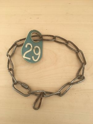 Vintage Cow Farm Animal Chain Collar Plastic Number Tag Green 29 Necklace