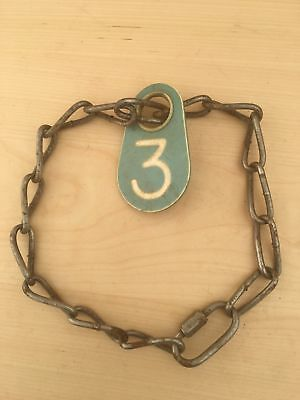 Vintage Cow Farm Animal Chain Collar Plastic Number Tag Green 3 Necklace