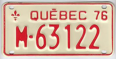 1976 Quebec Canada Motorcycle License Plate M - 63122 Moto Motocyclette Bike