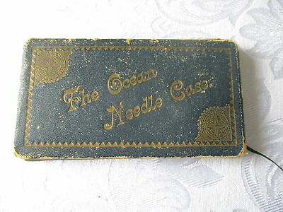 Antique Early 1900's Kirby Beard & Co Ltd Green Leather Sewing Needle Case