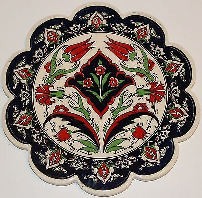 "Turkish 7"" (18cm) Iznik Floral Pattern Ceramic Hot Plate Trivet Tile"