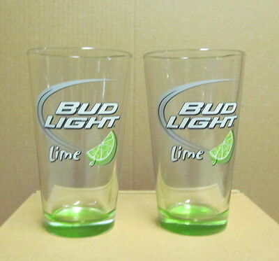 Bud Light Lime Pint Beer Glasses Pair