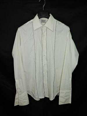 Vintage Van Heusen 16 35 M White Pleated Ruffle Tuxedo Shirt Formal Prom Party