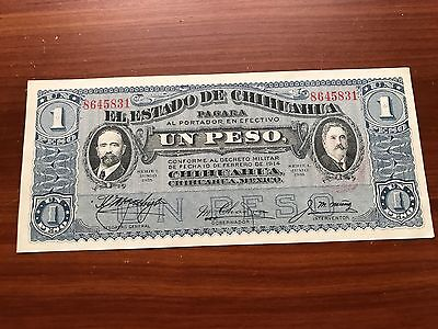 1914 Mexico Chihuahua 1 peso World foreign Banknote Excellent condition