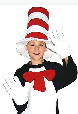 Cat in the Hat Costume Accessories Bow Tie Gloves Boys Girls Book Week Dr Seuss
