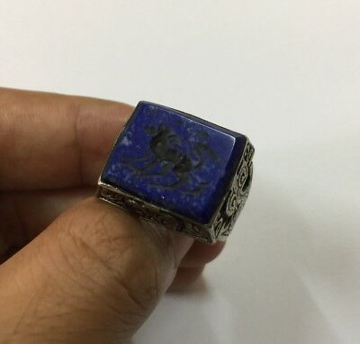 Men Vintage Afghan Ring Lapis Islamic Engraved Animal Antique Intaglio Horse 9