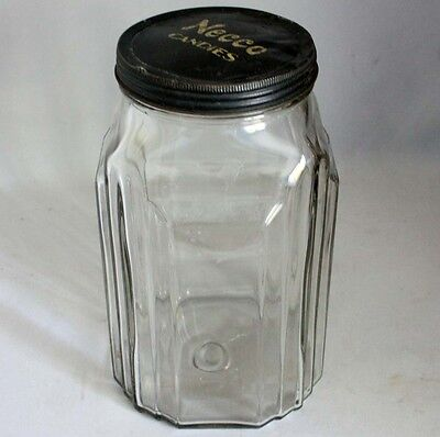A Antique Vtg Art Deco Style NECCO CANDIES JAR Country Store Display Advertising