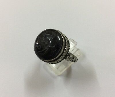 Persian Engraved Onyx Ring Vintage Deer Intaglio Islamic Afghan Black Agate 9.5
