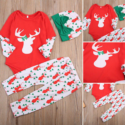 Newborn Infant Clothing Baby Girl Boy Romper Pants Hat Christmas 3PCS Outfits