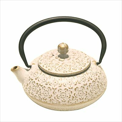 SAKURA White / Gold NANBU TEKKI Japanese Cast Iron Teapot Kyusu 0.6L Japan NEW