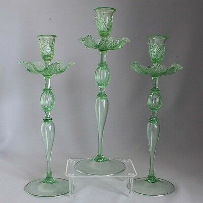SALE! 3 Antique SALVIATI VENETIAN / MURANO CANDLE HOLDERS Sticks LEAF BOBECHES