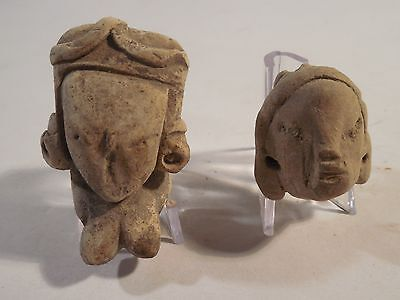 2 Nice Michoacan Heads Pre-Columbian Archaic Ancient Artifacts Olmec Mayan Aztec