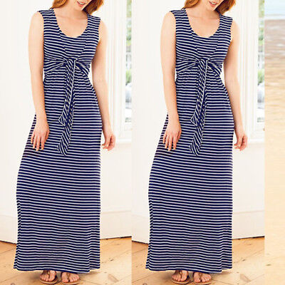 US Sleeveless Clothes Breastfeeding Nursing Pregnant Women Striped Maxi Dress